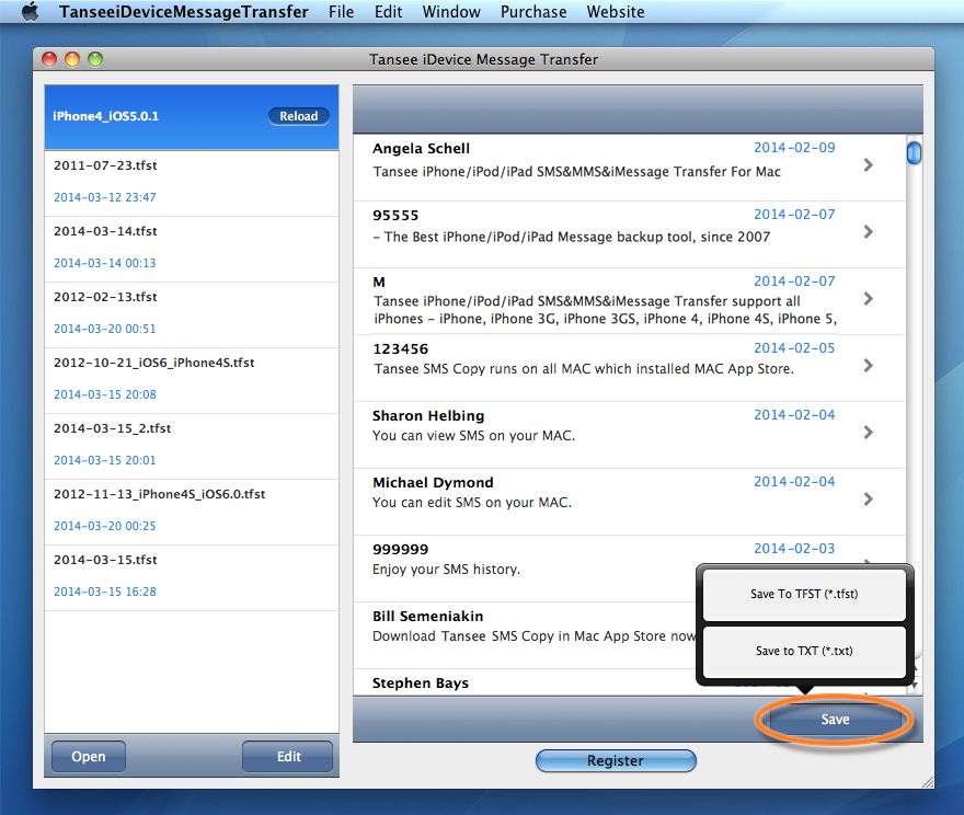 Tansee iPhone/iPad/iPod SMS&MMS&iMessage Transfer MAC version - Single contact conversation